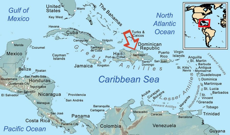 Map of the Caribbean with arrow indicating dominican