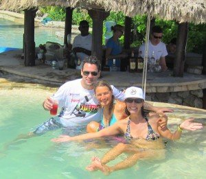 Laurel and the legends: Laurel with Shannon Best and Kristin Boese enjoying the hot tub on Sir Richard Branson's private island, Necker