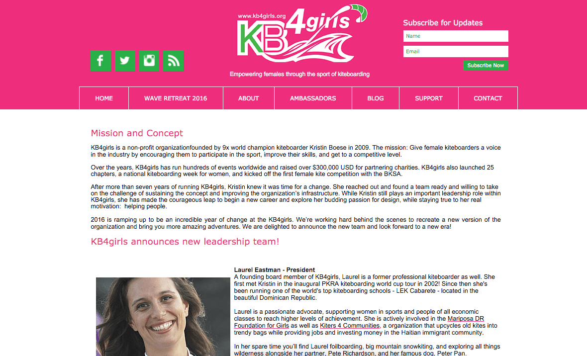 Laurel Eastman President of the KB4girls Foundation