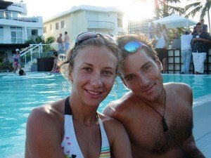 Kitesurf Instructor Eric at the Pool Party: LEK's French kiteboarding instructor Eric with his lovely friend enjoying the Semana Santa pool party at Millennium Resort, home of LEK.