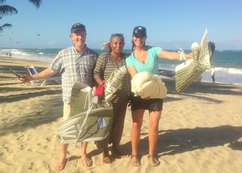 Mama Mason Pete and Laurel with Upcycle Sails on the beach at LEK