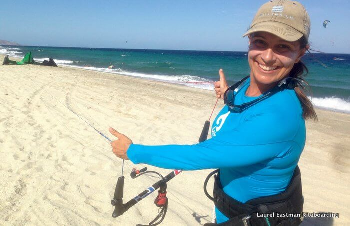 Laurel Eastman shows the downwind line check after rigging her kiteboarding kite
