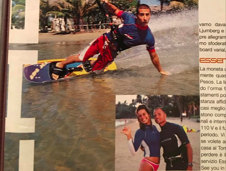 Laurel and friends in an Italian kiteboarding magazine article on Cabarete