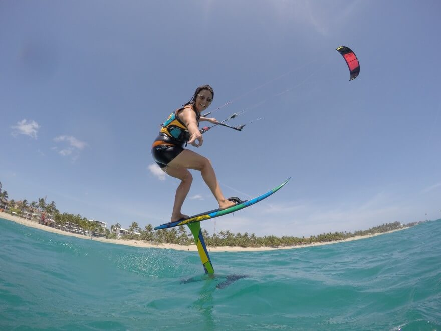 Kiteboarding and Cabarete expert Laurel Eastman foilboarding in Dominican Republic