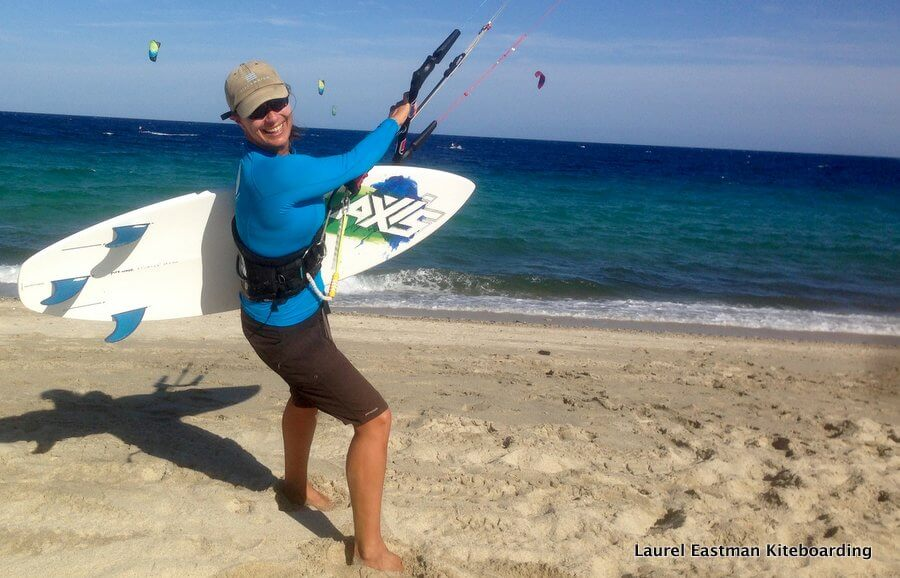 Professional kiteboarder and LEK founder Laurel Eastman heading out kitesurfing