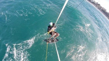 LEK student Adam flying high above Cabarete