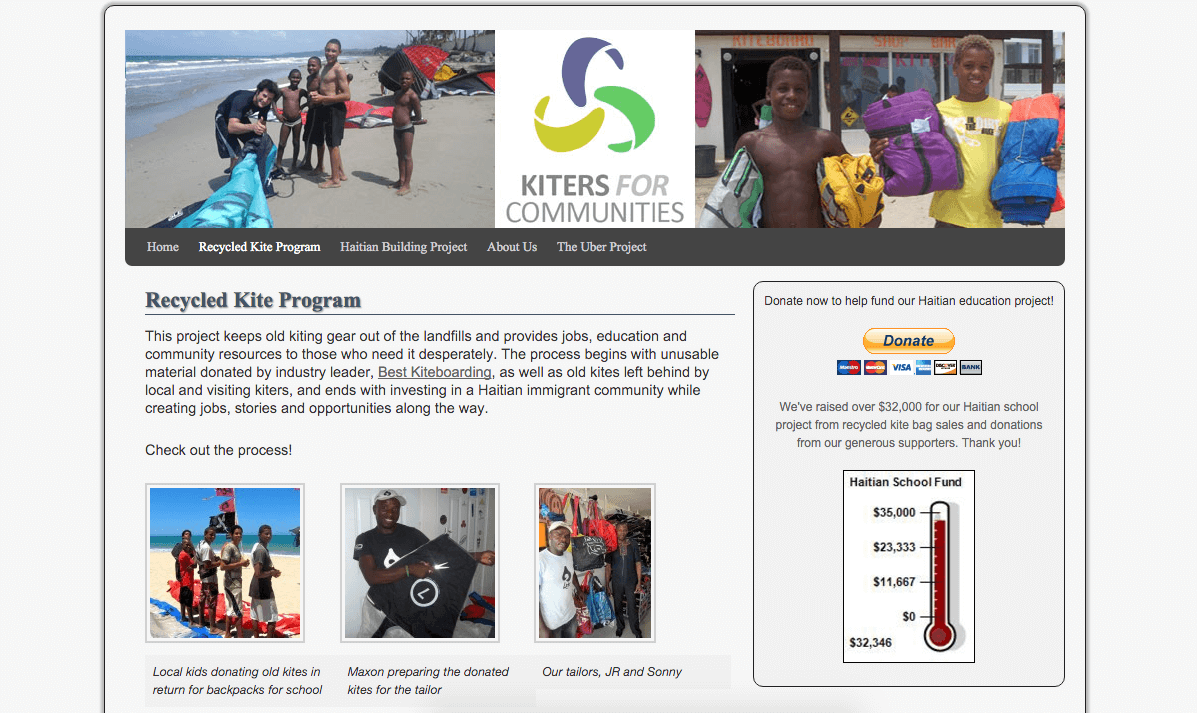 Kiters For Communities Website Showing Upcycling Kites